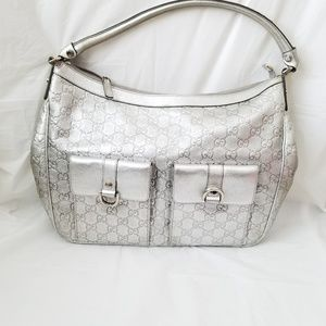 Authentic Gucci Leather Silver Shoulder Bag